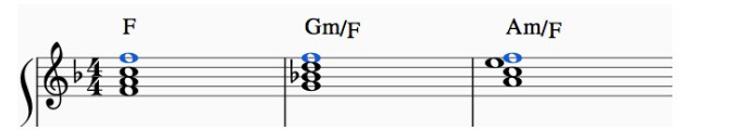F Note on each chord
