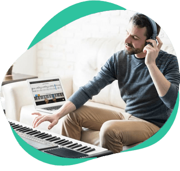 Man learning piano with Skoove