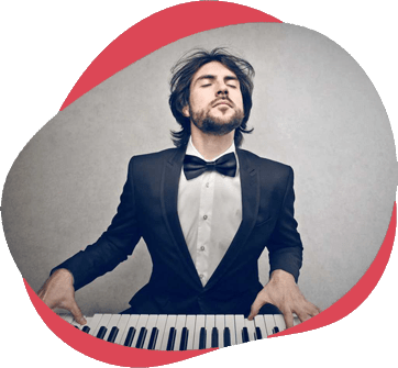 Man playing piano with closed eyes