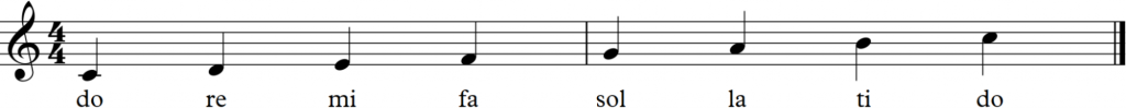 C major scale notated