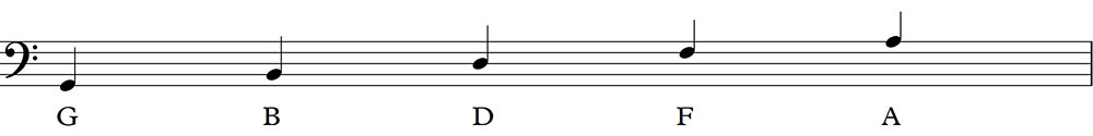 the bass clef notes
