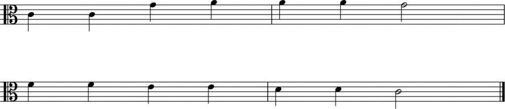 treble clef to the alto clef